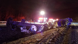 One person was taken to the hospital after this tractor-trailer rollover near Lancaster Township, Pa. on Feb. 13, 2018.