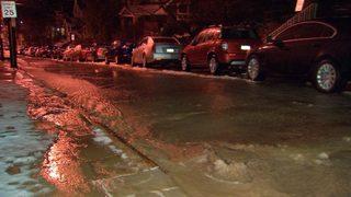 Cracks left behind in street after water main break