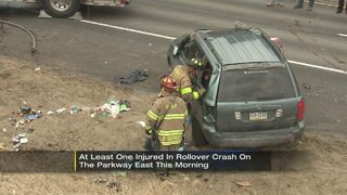 1 taken to hospital after rollover crash on Parkway East in Pittsburgh