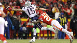 KANSAS CITY, MISSOURI - JANUARY 20: Chris Hogan #15 of the New England Patriots attempts to make a catch in the second half against Steven Nelson #20 of the Kansas City Chiefs during the AFC Championship Game. (Photo by Patrick Smith/Getty Images)