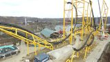 Kennywood has installed the tallest pieces of the new Steel Curtain roller coaster. (Photo: West Mifflin Borough UAS Program )