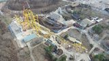 Kennywood has installed the tallest pieces of the new Steel Curtain roller coaster. (Photo: West Mifflin Borough UAS Program)