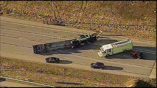 Tractor-trailer overturned on I-79 in South Hills