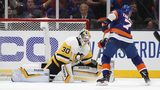 Jordan Eberle of the New York Islanders scores a first period goal against Matt Murray of the Pittsburgh Penguins in Game One of the Eastern Conference First Round during the 2019 NHL Stanley Cup Playoffs at NYCB Live's Nassau Coliseum.