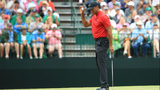 Tiger Woods of the United States wavesa after making a birdie on the 15th hole during the final round of the Masters at Augusta National Golf Club on April 14, 2019 in Augusta, Georgia. (Photo by Andrew Redington/Getty Images)