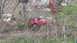 A car went over the hill on Island Avenue in McKees Rocks Monday afternoon.