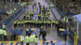Police officers are shown at the finish line before the start of the 123rd Boston Marathon on Monday, April 15, 2019, in Boston. (AP Photo/Charles Krupa)