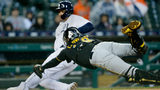 DETROIT, MI - APRIL 17: Francisco Cervelli #29 of the Pittsburgh Pirates makes a diving attempt to tag Miguel Cabrera #24 of the Detroit Tigers scoring from third base on a sacrifice fly hit by Ronny Rodriguez. (Photo by Duane Burleson/Getty Images)