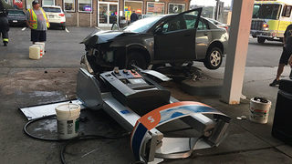 RAW VIDEO: Car crashes into gas pump near Rankin Bridge