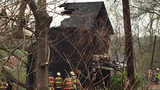 One person was unaccounted for after a fire destroyed one home and damaged another.