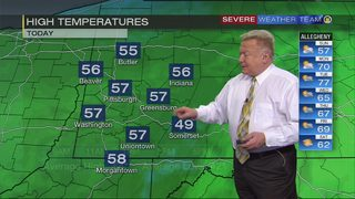 Rain moving out, temperatures remain cooler than average