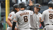 PITTSBURGH, PA - APRIL 21: Buster Posey #28 of the San Francisco Giants high fives with Steven Duggar #6 after hitting a three run home run in the fifth inning during the game against the Pittsburgh Pirates (Photo by Justin Berl/Getty Images)