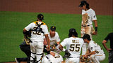 PITTSBURGH, PA - APRIL 22: Nick Burdi #57 of the Pittsburgh Pirates lays injured on the ground in the eighth inning against the Arizona Diamondbacks at PNC Park on April 22, 2019 in Pittsburgh, Pennsylvania. (Photo by Justin K. Aller/Getty Images)