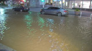 Water main break rips apart sidewalk, floods street in downtown Pittsburgh