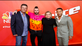 "THE VOICE -- ""Live Top 13"" Episode 1614A -- Pictured: (l-r) Blake Shelton, Adam Levine, Kelly Clarkson, John Legend -- (Photo by: Trae Patton/NBC)"