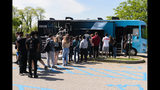 PITTSBURGH, PA - MAY 16: Students with the AXEmobile at West Mifflin Area High School for the #AXEpressYourself challenge on May 16, 2019 in Pittsburgh, Pennsylvania. (Photo by Daniel Boczarski/Getty Images for AXE)