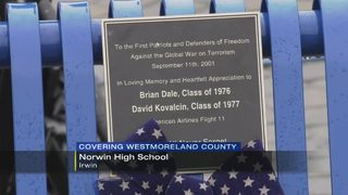 Bench dedicated in memory of 2 Norwin High School students killed in 9/11 attacks