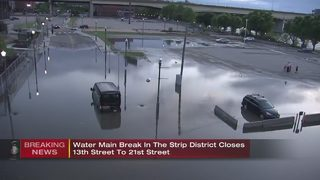 Massive water main break closes Strip street for several blocks