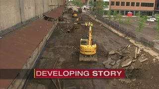 Massive water main break closes several blocks of Strip District street
