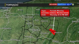 Tornado Warning issued for parts of Indiana, Westmoreland counties (8:50 p.m. update)