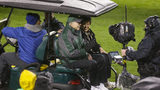 GREEN BAY, WI - NOVEMBER 26: Bart Starr, former Green Bay Packers quarterback and his spouse Cherry Louise Morton ride out to the field at Lambeau Field on November 26, 2015 in Green Bay, Wisconsin. (Photo by Mike McGinnis/Getty Images)