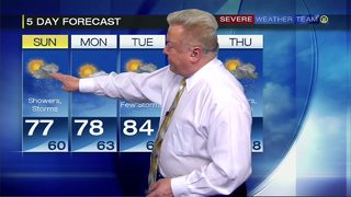 Another round of showers, storms in forecast for Sunday