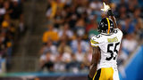Arthur Moats #55 of the Pittsburgh Steelers salutes the crowd in the 3rd quarter against the Carolina Panthers during the game at Bank of America Stadium on September 21, 2014 in Charlotte, North Carolina. (Photo by Streeter Lecka/Getty Images)