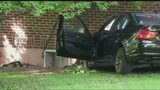 Car goes airborne before crashing into home, damaging gas line