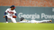 ATLANTA, GA - JUNE 11: Kevin Newman #27 of the Pittsburgh Pirates steals second as Ozzie Albies #1 of the Atlanta Braves covers in the first inning of an MLB game at SunTrust Park on June 11, 2019 in Atlanta, Georgia. (Photo by Todd Kirkland/Getty Images)