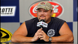 Larry the Cable Guy, promotes his upcoming film, 'Cars 2' in the Media Center prior to the NASCAR Sprint Cup Series Coca-Cola 600 at Charlotte Motor Speedway on May 29, 2011. (Photo by John Harrelson/Getty Images for NASCAR)