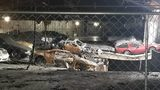 A look at the damaged vehicles inside an Etna warehouse that caught fire earlier this year.