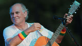 FILE - In this June 30, 2010, file photo, Jimmy Buffett performs at his sister's restaurant in Gulf Shores, Ala.  (AP Photo/Dave Martin, File)