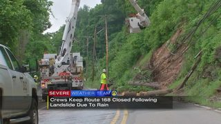 Crews keep Route 168 closed following landslide due to rain