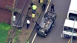 RAW VIDEO: Rollover crash in North Braddock