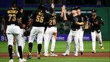 PITTSBURGH, PA - JULY 02: Members of the Pittsburgh Pirates celebrate after the final out in a 5-1 win over Chicago Cubs at PNC Park on July 2, 2019 in Pittsburgh, Pennsylvania. (Photo by Justin Berl/Getty Images)