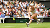 LONDON, ENGLAND - JULY 09: Alison Riske of the United States returns the ball in her Ladies' Singles Quarter Final match against Serena Williams of the United States during Day Eight of The Championships. (Photo by Mike Hewitt/Getty Images)