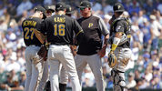CHICAGO, ILLINOIS: Manager Clint Hurdle of the Pittsburgh Pirates visits the mound during a pitching change, during the sixth inning against the Chicago Cubs at Wrigley Field on July 14 in Chicago, Illinois. (Photo by Nuccio DiNuzzo/Getty Images)