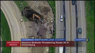 Massive sinkhole opens up off Route 30