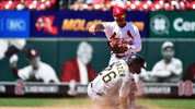 ST LOUIS, MO - JULY 17: Kolten Wong #16 of the St. Louis Cardinals attempts to turn a double play as Adam Frazier #26 of the Pittsburgh Pirates slides during the ninth inning at Busch Stadium on July 17, 2019 (Photo by Jeff Curry/Getty Images)