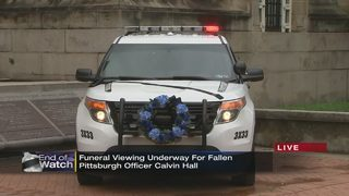 Public viewing underway for fallen Pittsburgh police Officer Calvin Hall