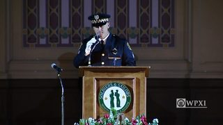 Sgt. Joe Lewis at Officer Hall funeral