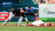 ST LOUIS, MO - AUGUST 10: Kevin Newman #27 of the Pittsburgh Pirates catches Kolten Wong #16 of the St. Louis Cardinals stealing second as umpire Adam Hamari #78 watches in the second inning (Photo by Dilip Vishwanat/Getty Images)