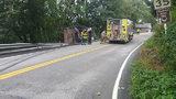 A dump truck overturns in Murrysville (8/14)