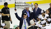 SAN JOSE, CA - JUNE 12: Bill Guerin Assistant General Manager of the Pittsburgh Penguins celebrates by hoisting the Stanley Cup after a 3-1 victory to win the Stanley Cup against the San Jose Sharks in Game Six of the 2016 NHL Stanley Cup Final at SAP Center on June 12, 2016 in San Jose, California. The Pittsburgh Penguins defeat the San Jose Sharks 3-1. (Photo by Ezra Shaw/Getty Images)