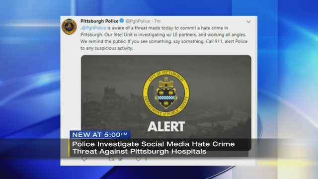 PITTSBURGH HATE CRIME THREAT:Police trace online hate crime