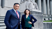 BLUFF CITY LAW -- Season: 1 -- Pictured: (l-r) Jimmy Smits as Elijah Strait, Caitlin McGee as Sydney Strait -- (Photo by: Paul Gilmore/NBC)