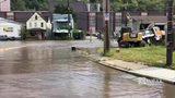 RAW VIDEO: Water main break floods Baldwin Road at Glass Run Road
