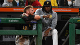 PITTSBURGH, PA - SEPTEMBER 18: Colin Moran #19 talks with Josh Bell #55 of the Pittsburgh Pirates during the seventh inning against the Seattle Mariners at PNC Park on September 18, 2019 (Photo by Joe Sargent/Getty Images)