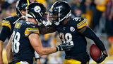 PITTSBURGH, PA - SEPTEMBER 30: Jaylen Samuels #38 of the Pittsburgh Steelers celebrates with Nick Vannett #88 after rushing for a 2 yard touchdown in the third quarter against the Cincinnati Bengals (Photo by Justin K. Aller/Getty Images)