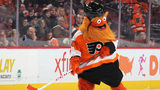 PHILADELPHIA, PENNSYLVANIA - JANUARY 07: The Philadelphia Flyers mascot Gritty skates between periods of the game against the St. Louis Blues at the Wells Fargo Center on January 07, 2019. (Photo by Bruce Bennett/Getty Images)